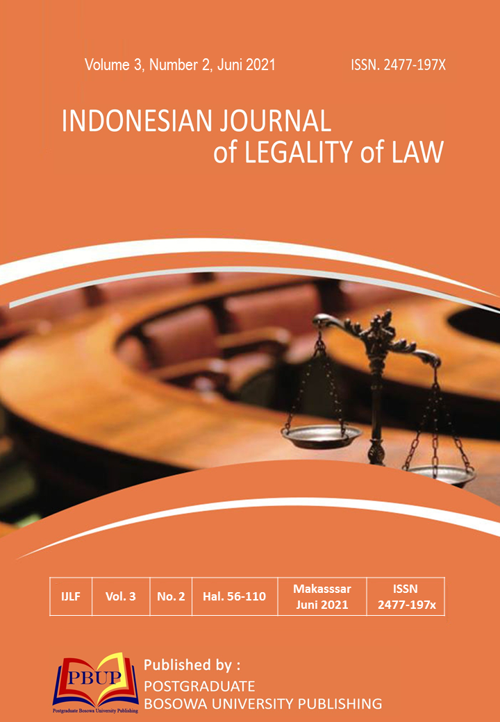 View Vol. 3 No. 2 (2021): Indonesian Journal of Legality of Law, Juni 2021